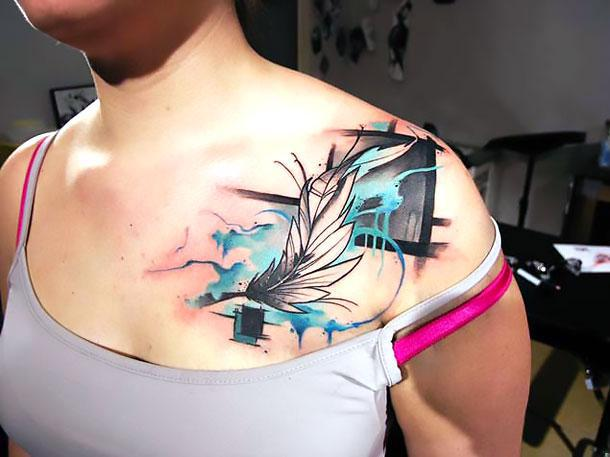 Artistic Feather Tattoo Idea