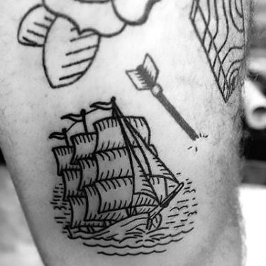Mens Thigh Ship Tattoo