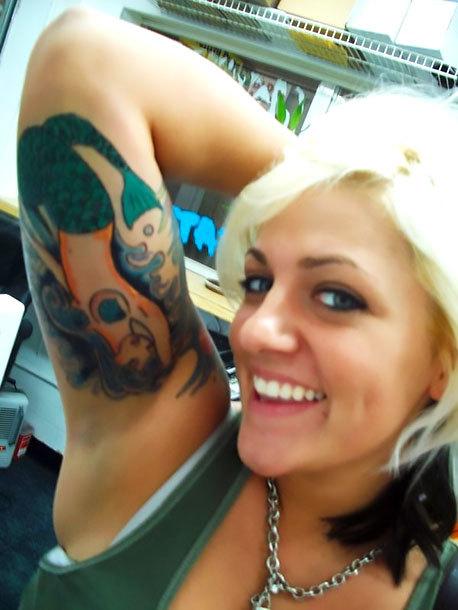 Mermaid on Bicep Tattoo Idea