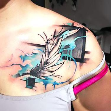 Artistic Feather Tattoo