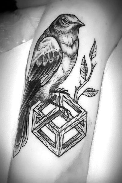 Mockingbird on Cube Tattoo Idea