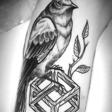 Mockingbird on Cube Tattoo