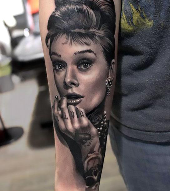 Audrey Hepburn Portrait Tattoo Idea
