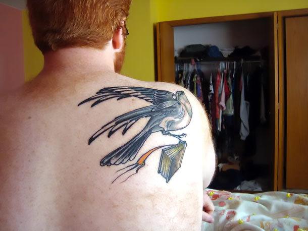 Mockingbird With Book Tattoo Idea