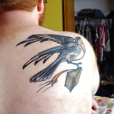 Mockingbird With Book Tattoo