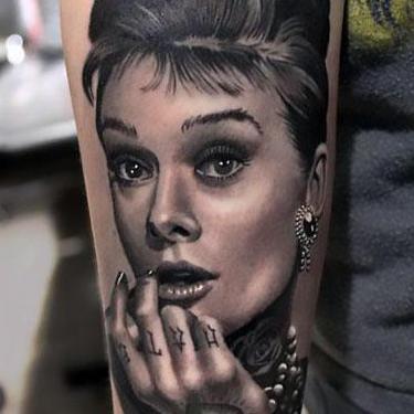 Audrey Hepburn Portrait Tattoo