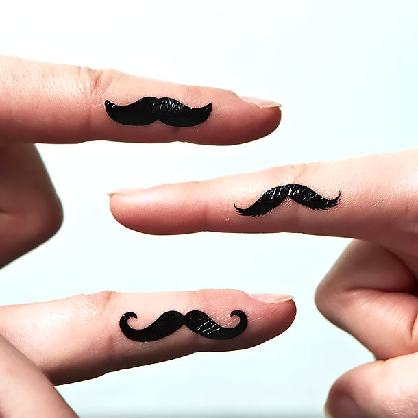 Moustache on Finger Tattoo Idea