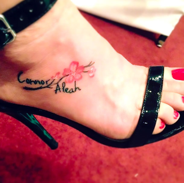 Name on Foot Tattoo Idea