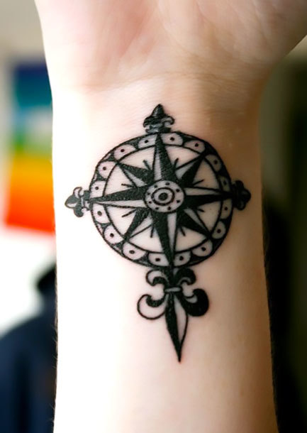 Nautical Star for Men on Wrist Tattoo Idea
