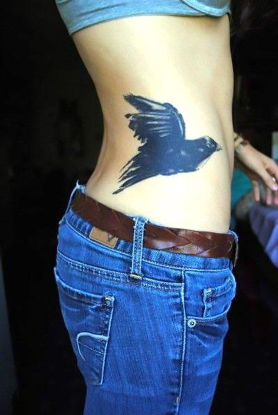 Awesome Blackbird on Side Tattoo Idea