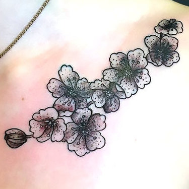 Elegant Flowers Tattoo on Collar Bone Tattoo