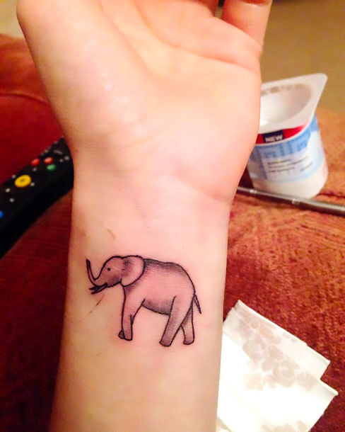 Elephant on Inner Wrist Tattoo Idea