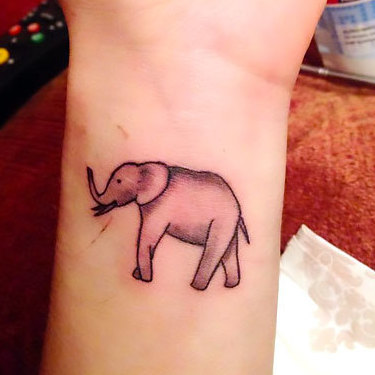 Elephant on Inner Wrist Tattoo