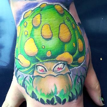 Evil Green Mushroom Tattoo