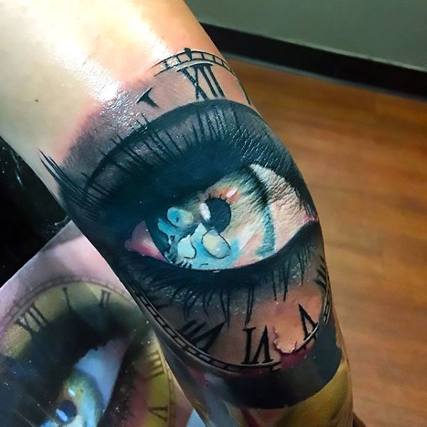Eye on Elbow for Men Tattoo Idea