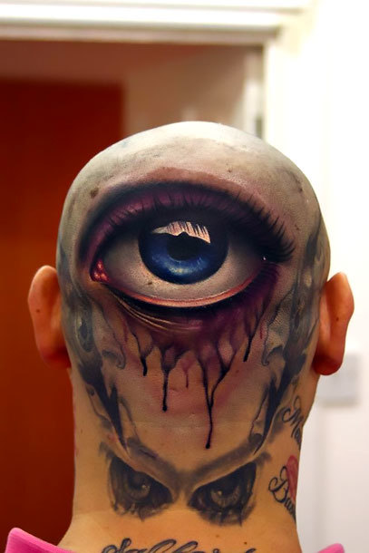 Eye on Head Tattoo Idea