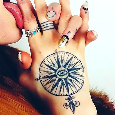Nautical Star on Hand for Women Tattoo