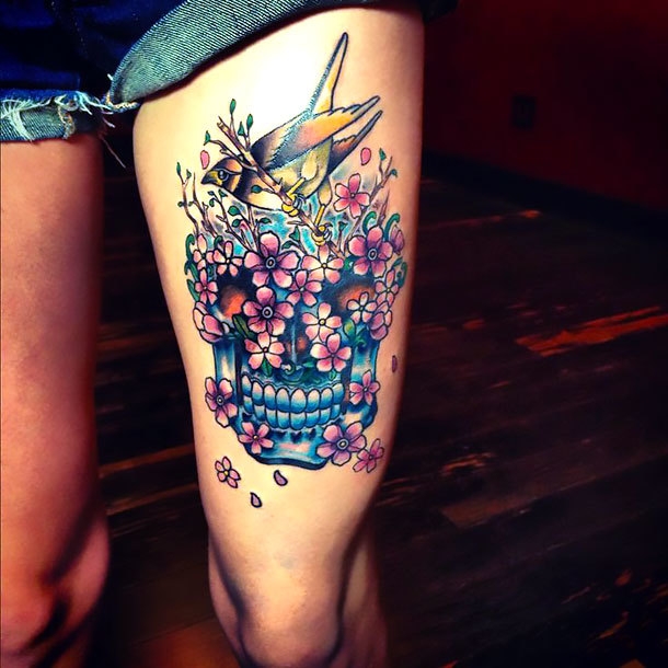 Skull on Thigh for Girl Tattoo Idea