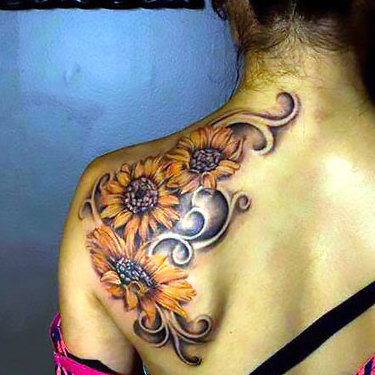 Sunflowers on Shoulder Blade Tattoo