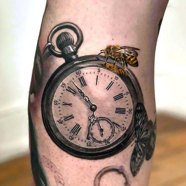 Super Realistic Pocket Watch Tattoo Idea