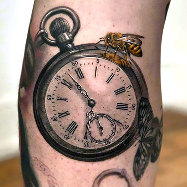 Super Realistic Pocket Watch Tattoo