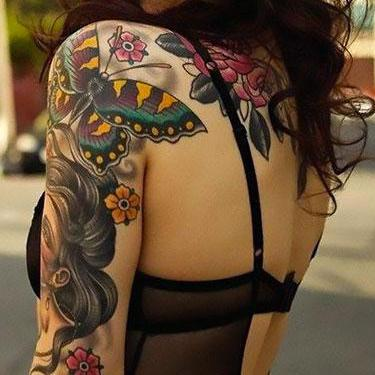 Awesome Butterfly on Shoulder Tattoo
