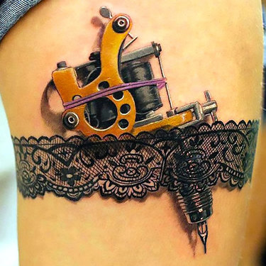 Tattoo Machine on Thigh Tattoo