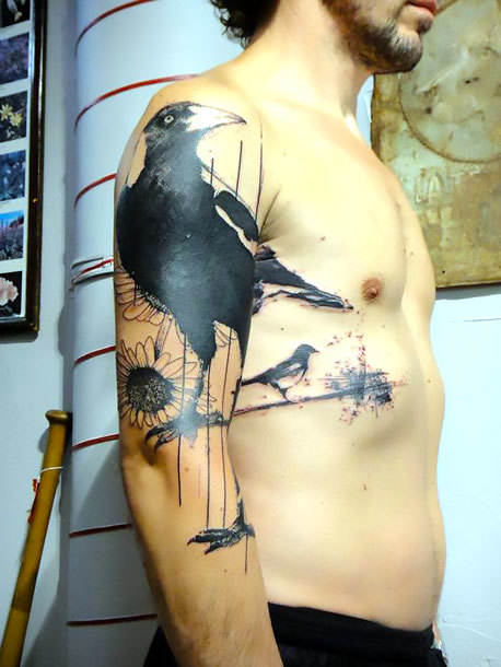 Tattoo of A Raven on Shoulder Tattoo Idea