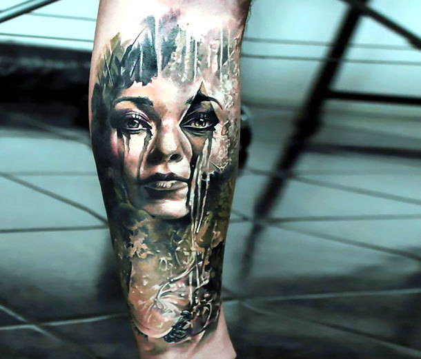 Terrifying Crying Girl Tattoo Idea