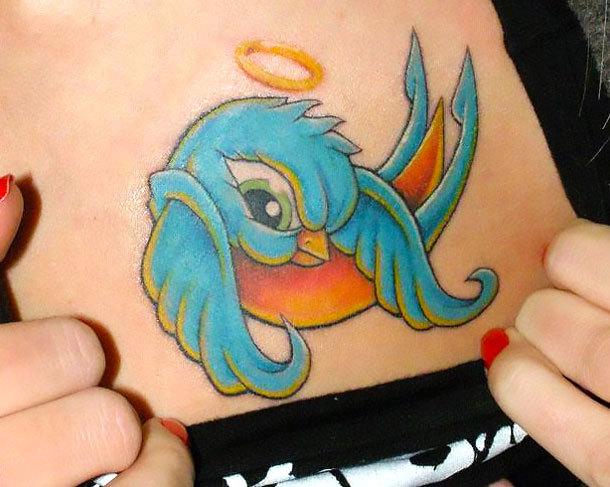 New School Bluebird Angel Tattoo Idea