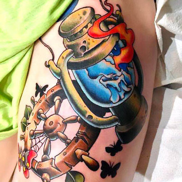 Neo Traditional Torch Tattoo