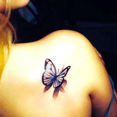 3D Butterfly on the Shoulder Tattoo