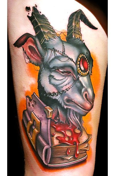 New School Wise Goat Tattoo Idea