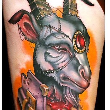 New School Wise Goat Tattoo