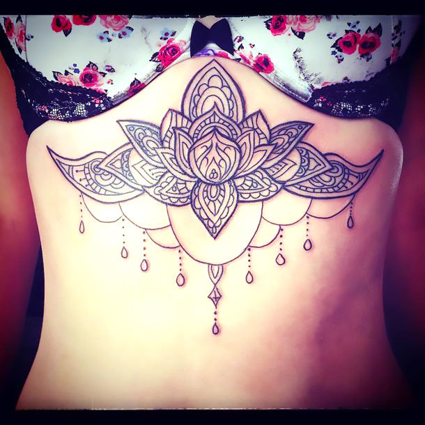 Nice Under Breast Lotus Tattoo Idea