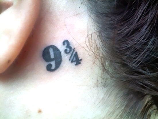 Nine and Three Quarters Behind Ear Tattoo Idea