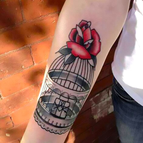 Old School Birdcage on Arm Tattoo Idea