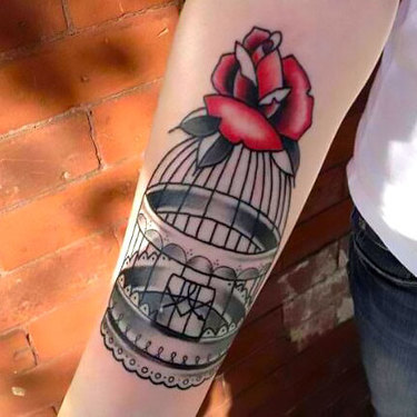 Old School Birdcage on Arm Tattoo