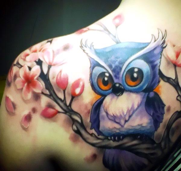 Awesome Funny Owl Tattoo Idea