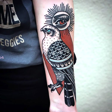 Old School Hawk on Forearm Tattoo