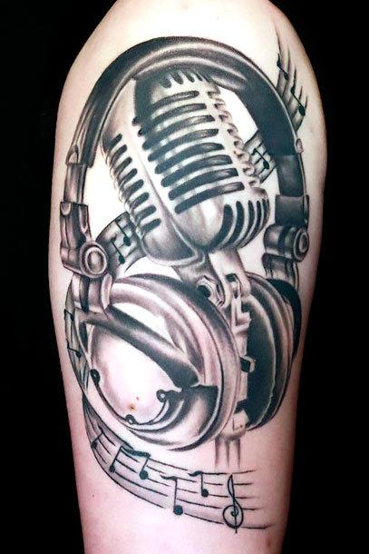 Old School Microphone Tattoo Idea