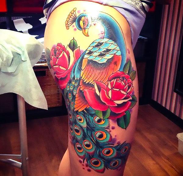 Neo Traditional Peacock Tattoo Idea