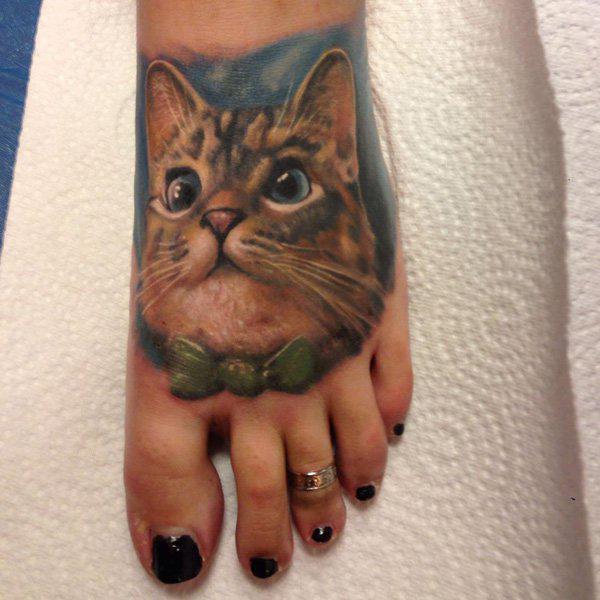 Cool Cat on Foot Tattoo Idea