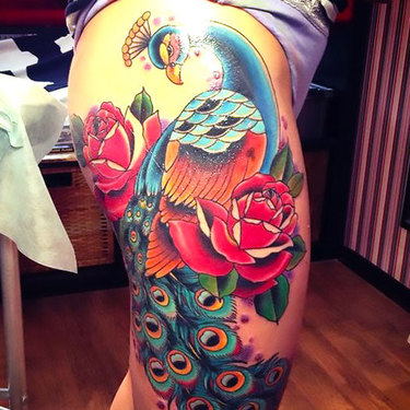 Neo Traditional Peacock Tattoo
