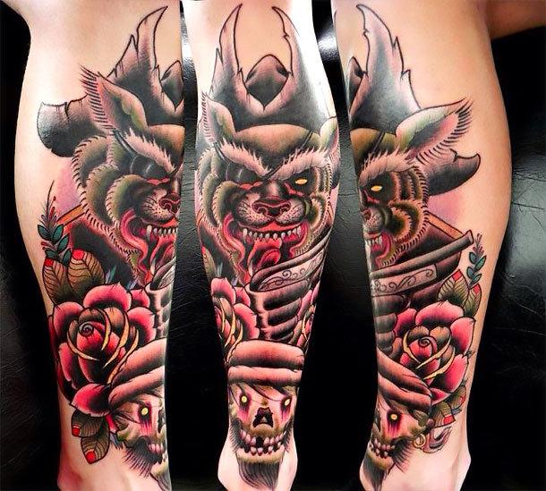 Old School Shin Tattoo Idea