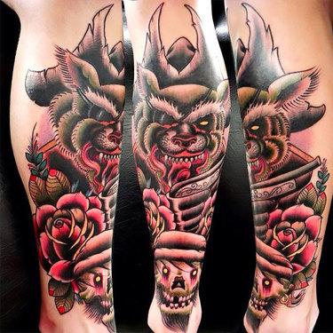 Old School Shin Tattoo