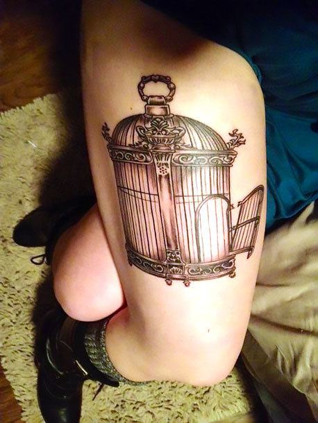 Opened Birdcage on Thigh Tattoo Idea