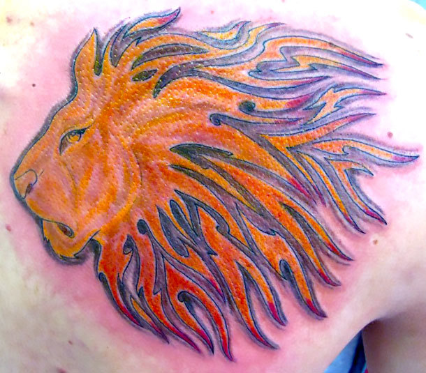 Orange Lion Tattoo Idea