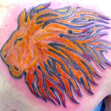 Orange Lion Tattoo