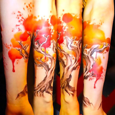 Orange Tree on Forearm Tattoo